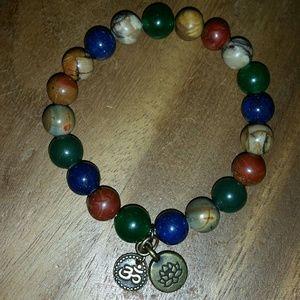 Jewelry - Natural stones lotus flower OM brass charm stretch